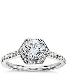 ♡ love it. Monique Lhuillier Hexagon Halo Engagement Ring in Platinum