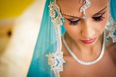Indian-wedding-Indian-bride-blue-lengha
