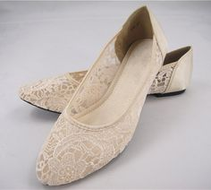 Ballet Flat Shoes Wedding Shoes Lace Bridal by SharinaWedding