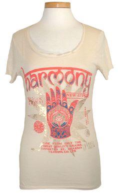 Lucky Brand Womens Shirt HARMONY Foil Printed Top Scoopneck Tee Cream Sz M NEW #LuckyBrand #GraphicTee