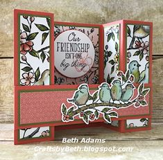 Stampin' Up! Free As A Bird, bird ballad suite Bridge Card Fun Fold Cards, Pop Up Cards, Folded Cards, Cool Cards, Card Making Tutorials, Making Ideas, Bridge Card, Shaped Cards, Stamping Up Cards
