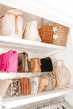 how to organize your closet space with the container store closet customcloset A Mix of Min provides tips on optimizing closet space with The Container Store and their customer Elfa closets. Elfa Closet, Bag Closet, Closet Bedroom, Closet Space, Closet Storage, Container Store Closet, How To Organize Your Closet, Organize Purses, Organizing Purses In Closet