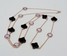 Items similar to Free Shipment Amethyst Long Station Necklace Black Agate Clover Bezel Setting, Silver Rose Gold Plated Chain Necklace Chunky Trendy on Etsy Clover Necklace, Silver Chain Necklace, Black Agate, Station Necklace, Silver Flowers, Rose Gold Plates, Beautiful Necklaces, Artisan Jewelry, Pink And Gold
