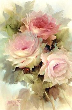 Art by Gary Jenkins, American floral painter. Work from the Maher Art Gallery. Deco Pastel, Pastel Art, Pastel Pink, Watercolor Flowers, Watercolor Paintings, Art Paintings, Watercolour, Painting Flowers, Rose Art