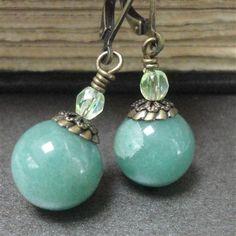 Moss Green Earrings Natural Brass Jade Green Glass by pink80sgirl, $24.00