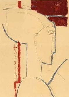 Sculpted Head, silk screen Amedeo Modigliani