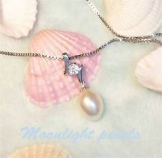 Sterling silver zirconic Genuine White Freshwater Pearl(10x12mm)Pendant Necklace | eBay