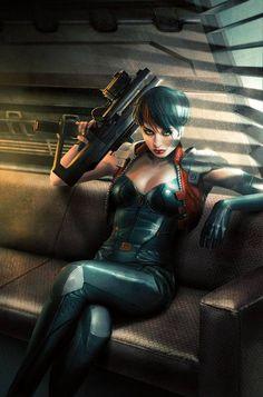 EVE by Jean-Sebastien Rossbach; female human fighter; shadowrun, cyberpunk