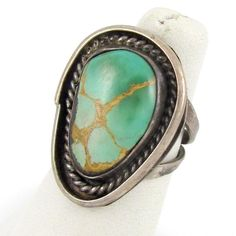 Great Vintage Navajo Sterling Silver Turquoise Ring Size 5.25  | G A