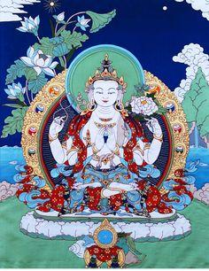 Four-Armed Avalokiteshvara Applique Thangka @ NORBULINGKA  www.norbulingkashop.com
