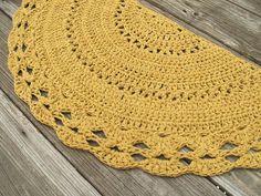 Semi Circle Crochet Pattern | Mustard Yellow Cotton Crochet Rug in Half by…