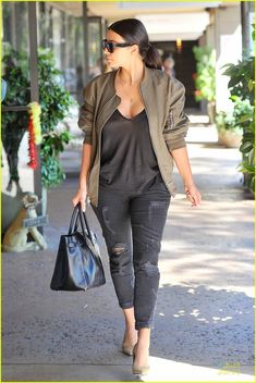 Yves Saint Laurent SL 1/S 59/13/140 Sunglasses, Current/Elliott The Shredded Jeans in Black, Stiletto Saint Laurent Paris Pointed Suede Pump and Hermes So Black Birkin 35 bag and Fear of God Bomber Jacket in 'Military Olive'