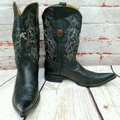 Yoncer Mexico Mens Boots Vtg Black Leather Needle Point Toe Rockabilly SZ 9.5   | eBay