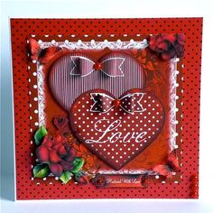 Hearts,roses and paper bows card front kit on Craftsuprint designed by Julie Hutchings - made by Denise Murray - Printed onto Crafty Bobs matte paper at a slightly smaller size and mounted with some red and black dotty paper onto an 8x8 card blank.I used 3d foam to layer the hearts, glue gel to give shape to the flowers and butterflies and finished by adding the 'Husband With Love' sentiment,the bows and some red pearls.Another stunning design from Julie! - Now available for download!