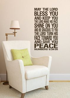 """Numbers 6:24-26 Wall Art Vinyl The Lord Bless you and Keep you Benediction Religious Bible Verse Christan subway art 16""""H x 29""""W on Etsy, $29.32"""