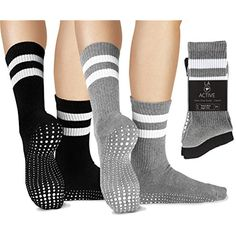 LA Active Grip Socks - 2 Pairs - Yoga Pilates Barre Ballet Non Slip Crew *** Check out the image by visiting the link. (This is an affiliate link) #Socks