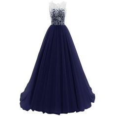 Onlinedress Women's Graceful Ball Gown Lace Long Sexy Prom Dress... ($91) ❤ liked on Polyvore featuring dresses, gowns, blue lace gown, sexy long dresses, sexy lace dresses, long evening dresses and long gowns