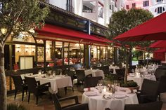 The terrace of the restaurant Fouquet's Cannes