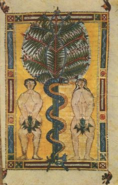 "The 'Serpent' tree of life, and Adam and Eve, The Escorial Beatus is a century illuminated manuscript of the Commentary on the Apocalypse by Beatus of Liébana"" Medieval Life, Medieval Art, Medieval Drawings, Renaissance Art, Medieval Manuscript, Illuminated Manuscript, Adam Et Eve, Book Of Hours, Religious Art"