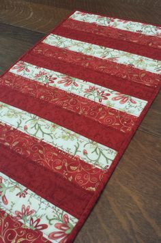 Quilted Christmas Table Runner modern by WarmandCozyQuilts on Etsy, $48.00