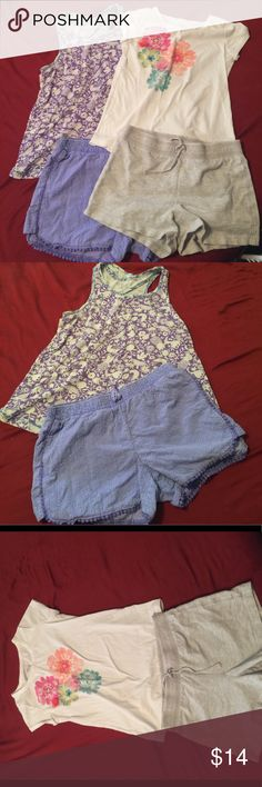 Play clothes set Girls play clothes set includes:  Purple Cherokee tank top size Large Cherokee Purple boho shorts size x-largeCherokee Flower shirt size large❤️Old Navy gray shorts size large...these are pre-loved play clothes with out any stains or rips...please let me know if you have any questions. Thanks for looking and happy Poshing!!  Matching Sets