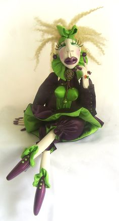 Green and Purple Art Doll Hand Sculpted.