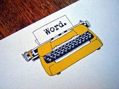 Golden Typewriter notecards by rachelink- etsy