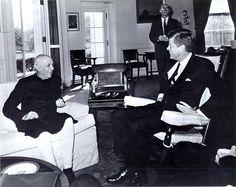 1961. 7 Novembre. JFK and Prime Minister Nehru at the White House