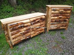 Logged Front Aspen Bedroom Furniture....beds and complete bedroom sets in various sizes to match... (814) 257-8911 or facebook at Old Farm Amish Furniture for a complete line of rustic log amish made furniture in aspen, sassafras, hickory, peeled pine, cedar and more :)