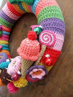 Crochet wreath I Love Buttons By Emma