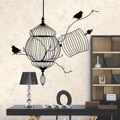 Birds cage & tree branch creative modern vinyl wall sticker/removable waterproofing home wall decal
