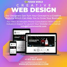 Creative Web Design Our Designers Can Turn Your Concept To A Creative Website Which Can Help You To Grow Your Business. For FREE 30 minute phone consultation with one of industry's expert to launch your website via e-mail at info@efusionworld.com. World Web, Creative Web Design, Responsive Web Design, Web Design Services, Growing Your Business, Fragrance, Product Launch, Website Designs, Concept