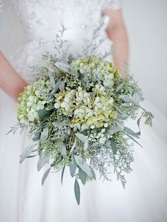 This Is A GORGEOUS Bouquet Showcasing: Green Hydrangea, White Gypsophila (Baby's Breath), Green Seeded Eucalyptus, + Several Other Varieties Of Greenery & Foliages~~