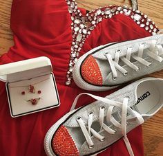 Dress from Macy's and converse from journeys add red crystals on toes Follow more on Instagram@firewifemay Bling Converse, Converse Style, Chuck Taylor Sneakers, Formal Wear, To My Daughter, Crystals, Red, How To Wear, Shoes