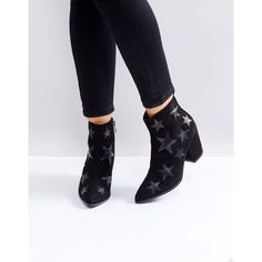 London Rebel Star Heeled Ankle Boots ($60) ❤ liked on Polyvore featuring shoes, boots, ankle booties, black, black booties, black bootie, pointed toe booties, black pointed toe boots and black star boots