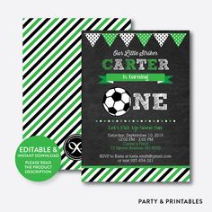 Learning To Play Football? Do you want to become a standout on your football team? Soccer Birthday Parties, Soccer Party, Boy First Birthday, Soccer Ball, Soccer Theme, Birthday Ideas, Football Invitations, Printable Birthday Invitations, Party Invitations