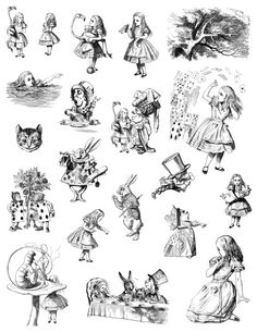 Alice in Wonderland Digital Collage or Sticker sheet Instant John Tenniel, Tattoo Sketches, Tattoo Drawings, Art Drawings, Alice In Wonderland Illustrations, Through The Looking Glass, Digital Collage, Collage Sheet, Adult Coloring Pages
