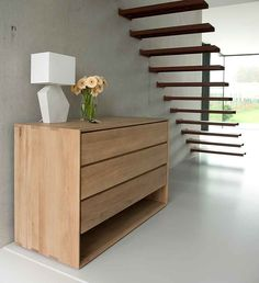 A contemporary, solid oak chest of 3 drawers from the Nordic collection. The Ethnicraft Nordic chest of drawers is available to buy online.