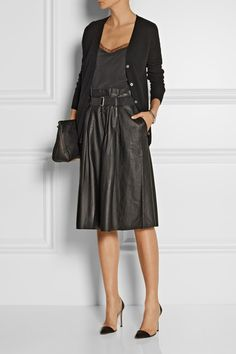 By Malene Birger's 'Lollu' skirt is cut from gently pleated, buttery soft leather. The detachable grosgrain belt accentuates the A-line waist of this midi design.  $795 http://www.net-a-porter.com/product/491565