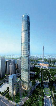 Guangzhou International Finance Center (IFC) / Guangzhou West Tower, Four Seasons Guangzhou Hotel designed by Wilkinson Eyre Architects :: 103 floors, height 438m