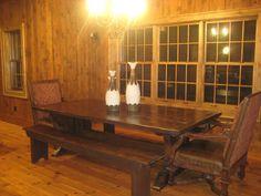 Trestle Farmhouse table from barn beams - the Beast