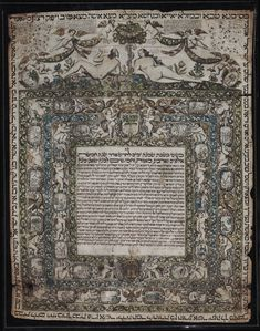 Ketubah : Nice, France, 1690, February 17  The ketubah (plural ketubot) is the standard marriage contract that Jewish law requires a groom to provide for his bride on their wedding day. It is intended to protect the woman, primarily by establishing the man's financial obligations to her in case of divorce or widowhood.