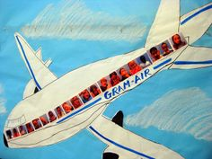 third graders in plane for art projects from other lands/ cultures