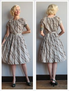 1950s Dress // Fall Trees Day Dress // vintage by dethrosevintage
