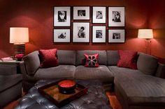 Red living room design