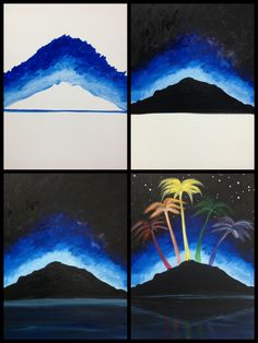 "Evolution of ""Island City"" painted @ Painting with a Twist Ft. Lauderdale"