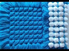 Pom pom blanket - A BEAUTIFUL Criss cross pom pom turnover - YouTube