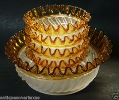 Adonis Swirl Berry Bowl Set Aetna Glass Co. 1888 EAPG Colored 5 Pieces