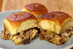 Philly Cheesesteak Sliders (nice variation from the famous funeral buns) made with Kings Hawaiian Sweet rolls, deli roast beef, provolone, green pepper, onion, garlic and of course butter! Can also be made ahead. Scrumptious!