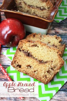 This Apple Streusel Bread recipe is the only apple bread recipe you need! Fresh chopped apples in a sweet bread batter with a ribbon of brown sugar streusel in the middle. Perfect for fall gift giving!